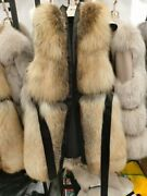 New Style Real Fox Fur Vest Full Pelt Women Warm Thick Gilet With Belt Jacket