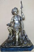 Young Man After A Hunt French Bronze Figure With Boar Sculpture Stone Base