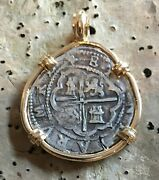 Pirate Coin Treasure Piece Of Eight Hand-struck Authentic 4r Set 14k Pendant