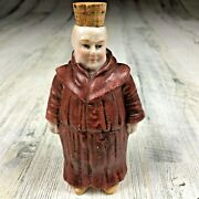 Small Antique Ceramic Monk Flask Bottle Decanter Cork Top 5 Tall Pottery Art