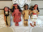 Vintage Lot Native Indian Dolls Skookum Mother Papoose Boy 6.5-7.5 Tall As Is