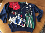 New Hathaway Hand Knitted The Golfer Course Great Costume Gift Sweater Sz Xl