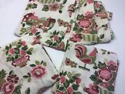 4 Vintage Heavy Linen Or Barkcloth Curtain Panels Matching Drapes With Roosters