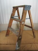 Vintage Wood Wooden 2 Step Ladder Rustic Primitive Farm Country Plant Stand