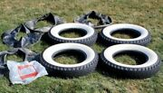 Vintage Goodyear All Weather Deluxe 4 White Wall Tires 6.50-16 Tube Type Nice