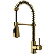 Brant Single-handle Pull-down Sprayer Kitchen Faucet In Matte Gold