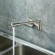 Brushed Nickel Pot Filler Cold Only Kitchen Faucet Brass With Dual Swing Joints