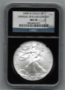 2008 W Burnished Silver Eagle Annual Dollar 1 Ngc Ms 70