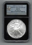 2008 W Burnished Silver Eagle Annual Dollar 1 Star Label Ngc Ms 70