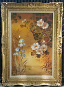Huge Kee Wu Wah Magnolia Tree With Birds And Lily Flowers Silk Painting