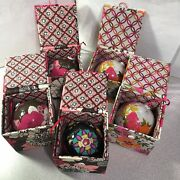 Lot Of 5 - Vera Bradly Christmas Ornaments In Fabric Boxes 2011 Various Designs