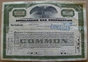 Temporary Stock Certificate Appalachian Gas Corporation 1932 Back With Stamps