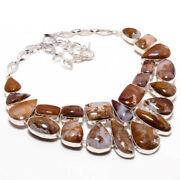 African Moss Agate Gemstone 925 Sterling Silver Jewelry Necklace 18 Kj-1737
