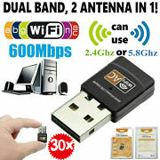30 Packs Mini Dual Band 600mbps Usb Wifi Wireless Adapter For Laptop Pc Desktop