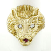 Menand039s Vintage Heavy 14k Gold .17ctw Ruby Diamond Eyes Textured 3d Lion Head Ring
