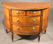Fine Burled Walnut English Regency Style Demilune Commode Chest With Lion Pulls