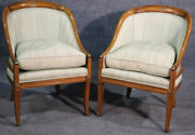 Pair Of French Walnut Bronze Mounted Empire Bergandegravere Lounge Chairs Circa 1940s