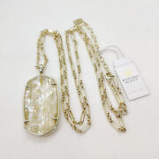 New Kendra Scott Faceted Reid Long Necklace In White Abalone / Gold