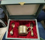 Rare Japanese Engraved Kokeshi Doll Baby Cup Fork Spoon Set 950 Sterling Silver