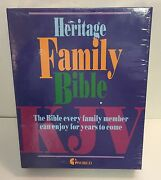 Vintage Heritage Deluxe Family Bible Kjv New White World Bible Red Letters 1976