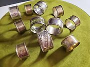Antique Lot Of 15 All Mixed Sterling Silver 925 Napkin Rings Floral Dragon