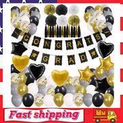 New Years Eve Party Supplies Decorations Kit,gold White And Black Balloons Sets