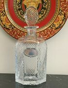 Antique Baccarat Cut Crystal Diamond Decanter With Sterling Gin Tag