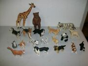 Large Collection Of 19 Plastic Animals Dogs Cats Rabbits Wolf Bear Schleich