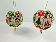 2 Completed 3d Needlepoint Cross Stitch Christmas Ornament Ball Santa Candle