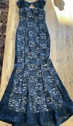 Vintage La Scala Black Sequined Lace Long Evening Gown Formal Wear Size Small