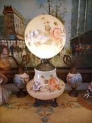 Beautiful Huge Vintage Gone With Wind Painted Floral Lamp Gwtw Large