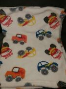 Cutie Pie Baby Blanket Primary Colors Cars Off Road Vehicles 30x36 Big Wheels