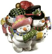 1998 Fitz And Floyd Frosty Folks Figural Snowman Christmas Winter Cookie Jar
