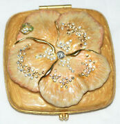 Jay Strongwater Double Square Mirror Compact W/ Crystal Enamel Lady Bag