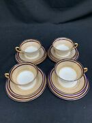 Lenox Made For Loring Andrews Gold Trim Footed Teacup Saucer Bread Plate Set 12p