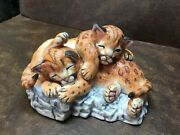 Lenox Nature's Young Played Out 1988 Porcelain Cougar Cubs Figurine