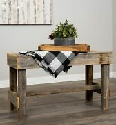 Farmhouse Wooden Entryway Bench Seat Plant Display Stand Rustic Natural Finish