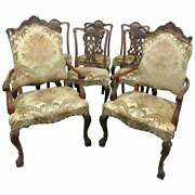 Best Set 8 Carved Mahogany Georgian Chippendale Dining Chairs W Tall Thrones