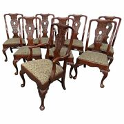 Gorgeous Set 8 Henredon Superbly Carved Mahogany Georgian Style Dining Chairs