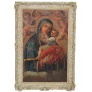 Superb Italian 18th Century Oil Painting Of Madonna And Child Canvas On Board