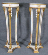 Fine Pair French Regency Creme Paint And Gilt Wood Fern Plant Stands C1950s
