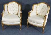 Stunning Pair 1920s French Louis Xv Carved Gilded Bergere Club Lounge Chairs