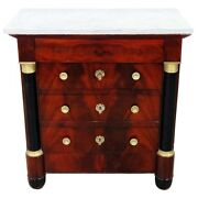 Gorgeous Flame Mahogany French Empire Style Marble Top Dresser Nightstand Table