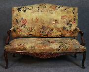 Rare Flemish Tapestry Carved Walnut French Louis Xv Settee Sofa C1850s