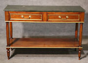 French Louis Xvi Directoire Walnut And Verdi Green Marble Brass Trim Console Table