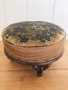 Antique Victorian Beaded Ladies Foot Stool 1900's Needlepoint Glass Embroidery