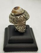 Ancient Agate Stone Goat Eyes / Evil Eyes Protection Old Silver Antique Ring