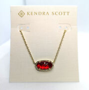 New Kendra Scott Elisa Pendant Necklace In Ruby Red / Gold