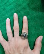 Ancient Agate Stone Evil Eyes Powerful Protection Goat Eyes Antique Silver Ring