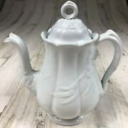 Antique Jandg Meakin White Ironstone China Wheat And Hops Ceres 9 Teapot C.1860
